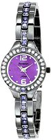 Swarovski Armitron Women's 75/5205VMDG Purple Crystal Accented Gunmetal Bracelet Watch