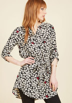 ModCloth Day for Night Tunic in Black Hearts in XS
