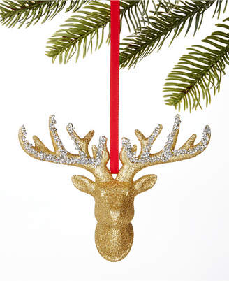 Holiday Lane Midnight Blue Gold Stag Head Ornament
