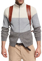 Brunello Cucinelli Donegal Colorblock Zip-Front Cardigan, Gray