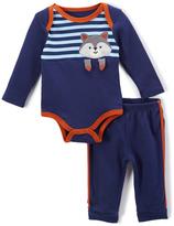 Buster Brown Blue & Cinnamon Raccoon Bodysuit & Joggers - Infant