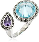 """Judith Jack Rings and Things"""" Sterling Silver/Marcasite/Blue/Amy Stone Ring, Size 7"""