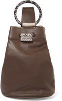 Just Cavalli Snake-effect and smooth leather shoulder bag
