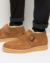 Diesel Khiris Suede Shearling Look Wedge Creeper Boots