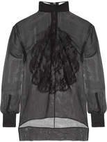 Givenchy Lace-appliquéd Silk-chiffon Blouse - Black