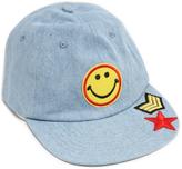 Steve Madden Denim Smiley Face Patch Baseball Cap