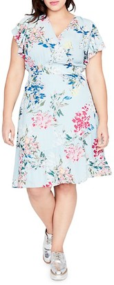 Rachel Roy Plus Floral-Print V-Neck Dress