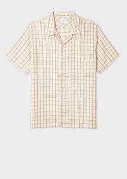Men's Classic-Fit Beige Check Short-Sleeve Shirt