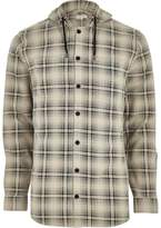 River Island Mens Big and Tall Cream hooded check shirt