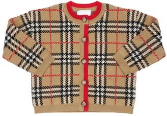 Burberry Check Wool Knit Cardigan