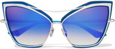 Dita Creature Cat-eye Metal Mirrored Sunglasses - Blue