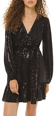 MICHAEL Michael Kors Metallic-Dot Embellished V-Neck Dress