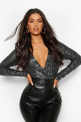 boohoo Sequin Wrap Long Sleeve Bodysuit
