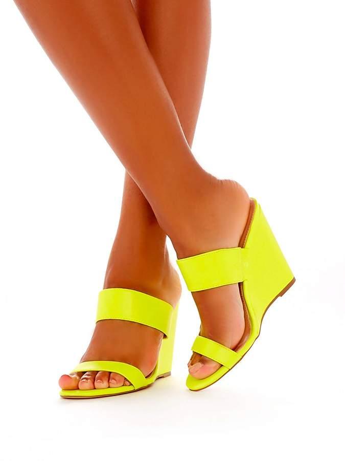 0b6ba74d64f Lena Heeled Wedge Sandals - Neon Yellow