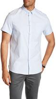 Kenneth Cole New York Short Sleeve Oxford Thin Stripe Print Trim Fit Shirt