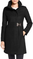Via Spiga Petite Women's Faux Leather Detail Asymmetrical Wool Blend Coat