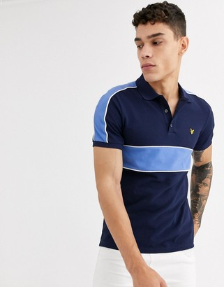 Lyle & Scott cut and sew polo shirt-Navy