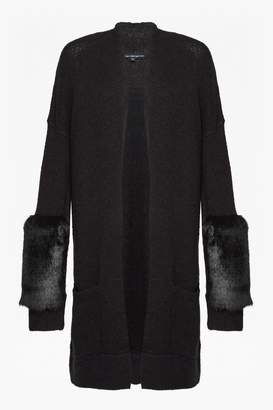 French Connection Lilou Faux Fur Sleeve Trim Cardigan