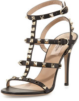 Valentino Rockstud Leather 105mm Sandal, Nero