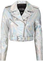 Veda Acid Mirror Cropped Moto Jacket