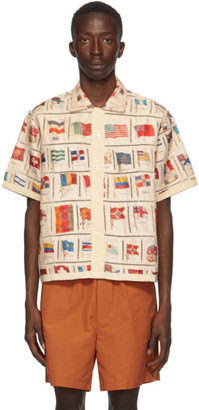 Bode Beige Flag Patchwork Short Sleeve Shirt
