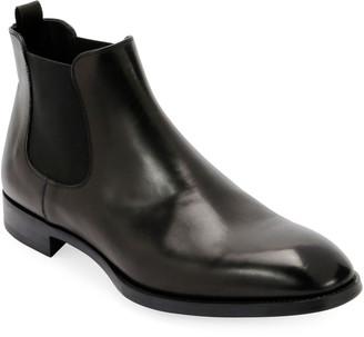 Giorgio Armani Gored Leather Chelsea Boot w/ Rubber Sole