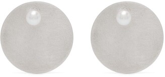 HSU JEWELLERY LONDON Pearl-Embellished Silver Disk Studs