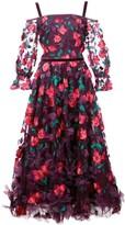 Marchesa 3D floral midi dress