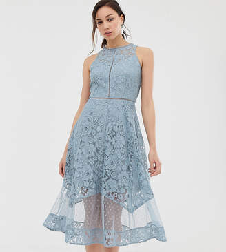 Little Mistress Tall all over dotty lace midi prom skater dress in blue