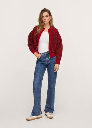 MANGO Textured knit cardigan red - XS - Women