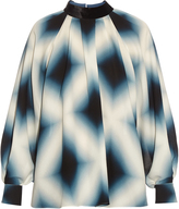 Fendi Neon-print tie-neck silk-georgette blouse