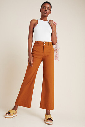 Anthropologie Emma Cropped Wide-Leg Pants By in Black Size 25