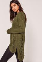 Missguided Khaki Distressed Sweater
