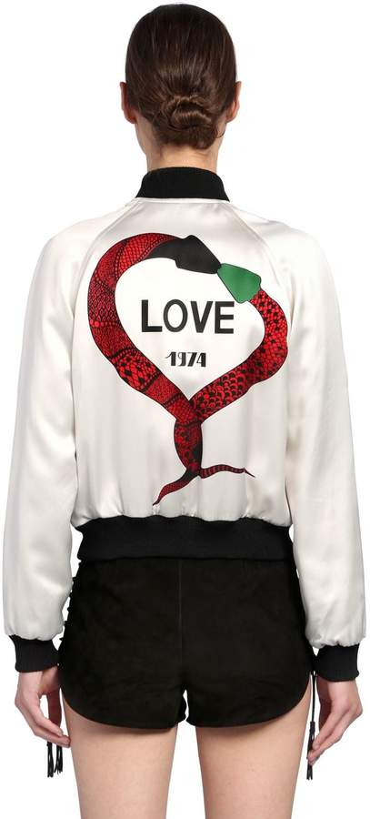Saint Laurent Love 1974 Printed Satin Bomber Jacket