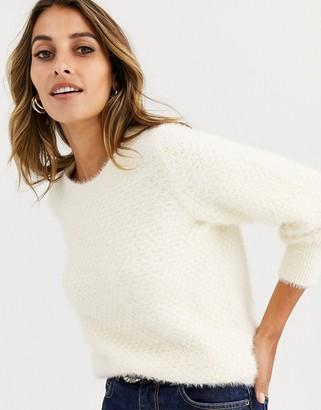 Vero Moda knitted puff sleeve fluffy jumper in cream