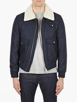 Ami Navy Shearling Collar Jacket