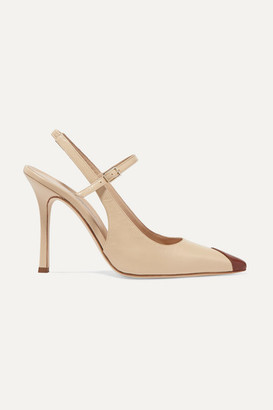 Alessandra Rich Two-tone Leather Mary Jane Slingback Pumps - Beige