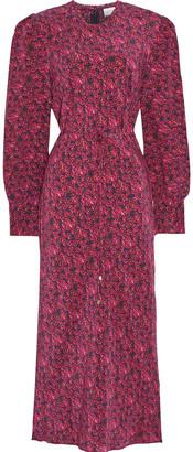 Rebecca Vallance Rosette Floral-print Silk Crepe De Chine Midi Dress