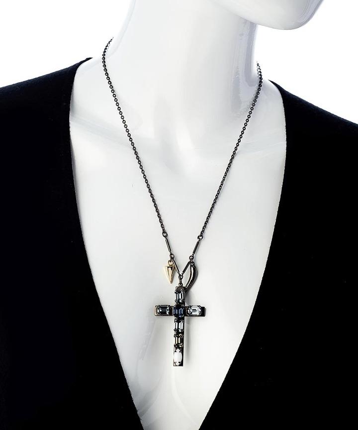 Swarovski Michael Spirito Gunmetal Gold And Crystal Cross Pendant Necklace