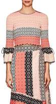Derek Lam 10 Crosby Women's Smocked Geometric-Print Silk Crop Blouse
