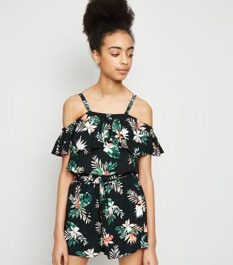 New Look Girls Tropical Floral Bardot Top