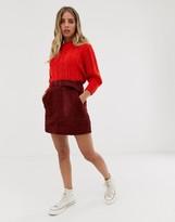 Asos Design DESIGN utility pocket cord A line mini skirt with belt
