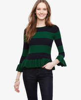 Ann Taylor Flared & Striped Sweater
