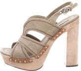 Miu Miu Canvas Platform Sandals