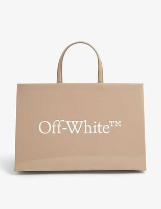 Off-White Box patent leather tote bag