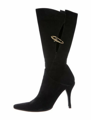 Cesare Paciotti Suede Cutout Accent Boots Black