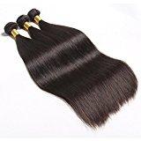 Connie Hair Malaysian Virgin Hair Silky Straight 3 Bundles Grade 6A Unprocessed Human Weave Weft Mixed Length(16 18 20)Natural Black Total 300g