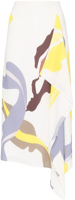 Tibi Abstract Print Midi Skirt