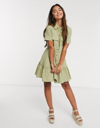 Qed London shirt dress in sage