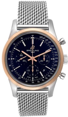 Breitling Black Rose Gold And Stainless Steel Transocean Chronograph UB0152 Men's Wristwatch 43 MM